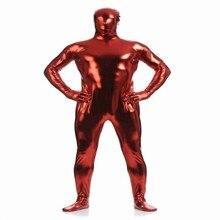 (MZS026) Dark Red Shiny Metallic Tights for classic halloween costumes Unisex original Fetish Zentai Suits