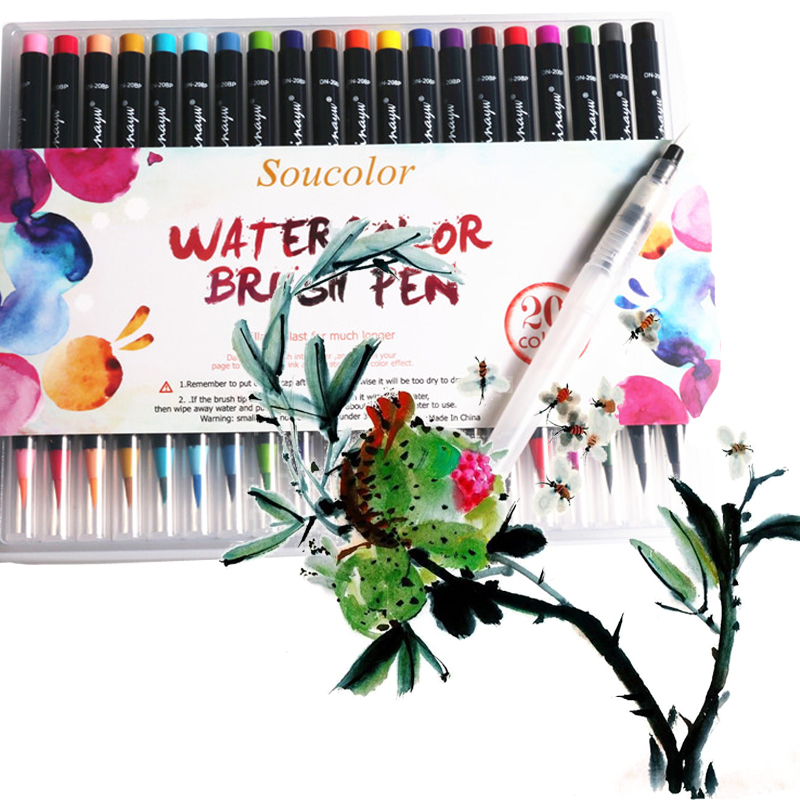 20 Color Premium Soft Brush Pen Set Watercolor Painting Marker Pen Coloring Books Manga Comic Calligraphy Art Markers