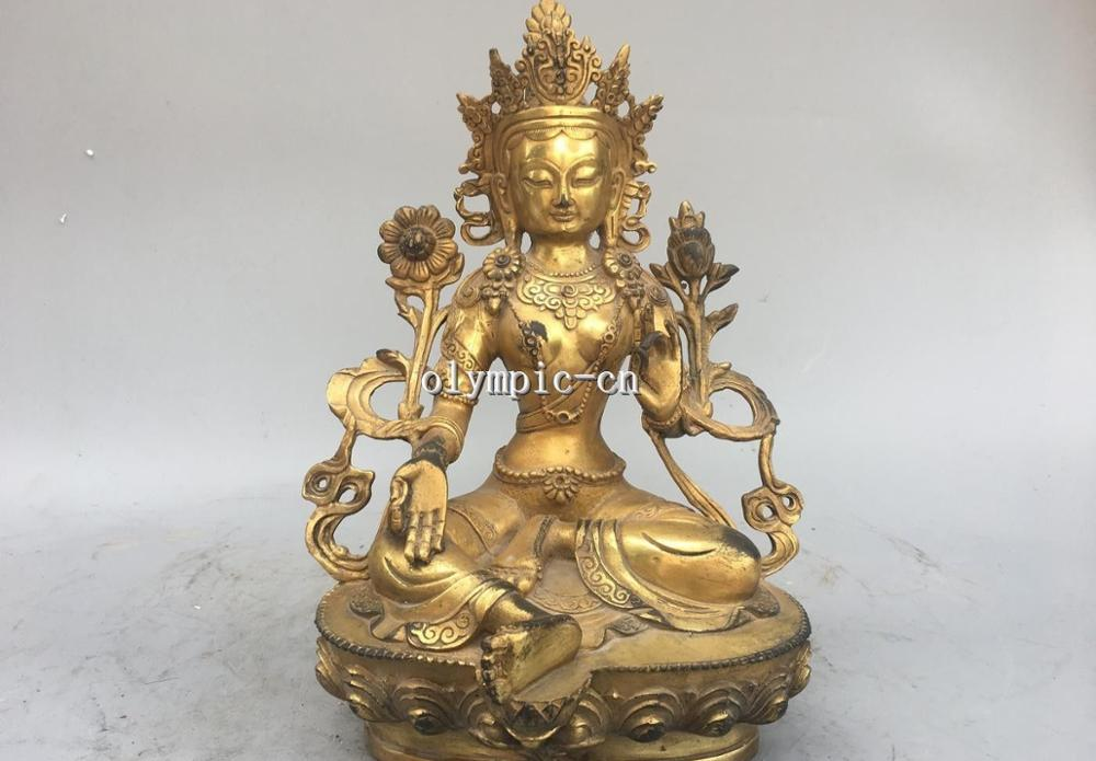 11 Bronze Gild carved Buddhism Avalokitesvara Bodhisattva Green Tara Guanyin11 Bronze Gild carved Buddhism Avalokitesvara Bodhisattva Green Tara Guanyin