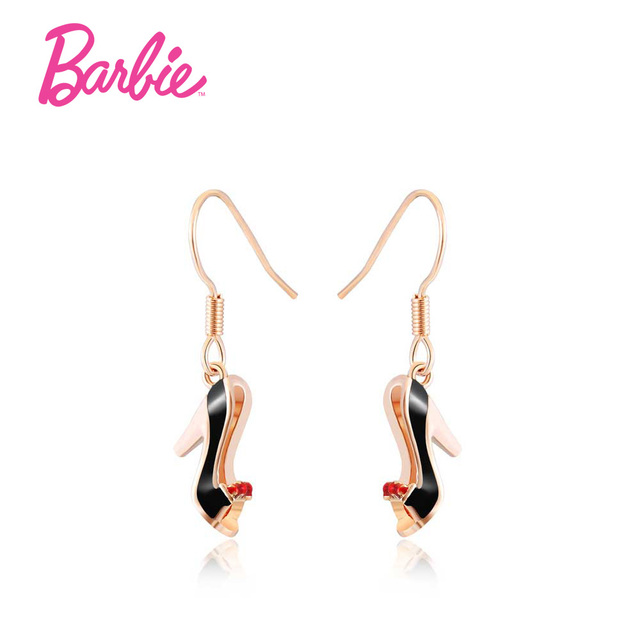 Barbie Unique High Heel Black Shoes Earrings Fashion Trendy Jewelry Champagne Earring For Women Gift