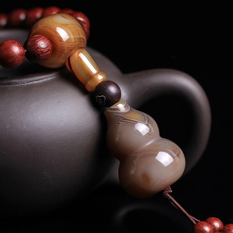 Feng shuiPure lucidatura manuale autentica lobulare legno di sangue di pollo in legno di palissandro rosso 108 perline stringa la mano partita sardonica in legno di palissandro - 4