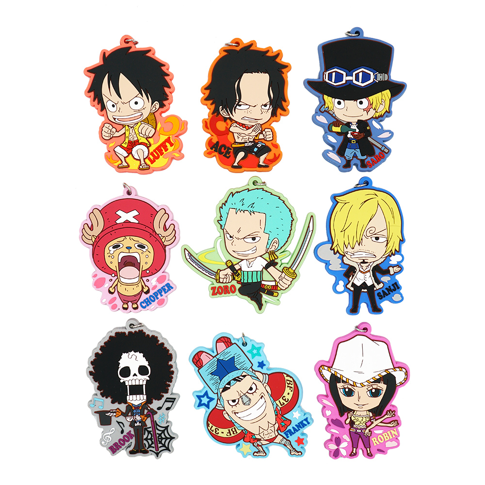 Us 3 82 15 Off One Piece Monkey D Luffy Nico Robin Hancock Ace Brook Tony Chopper Anime Rubber Keychain In Action Toy Figures From Toys Hobbies