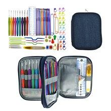 KOKNIT вязальный Набор для вязания крючком, Алюминиевые крючки для вязания, набор аксессуаров для шитья с чехлом для мамы