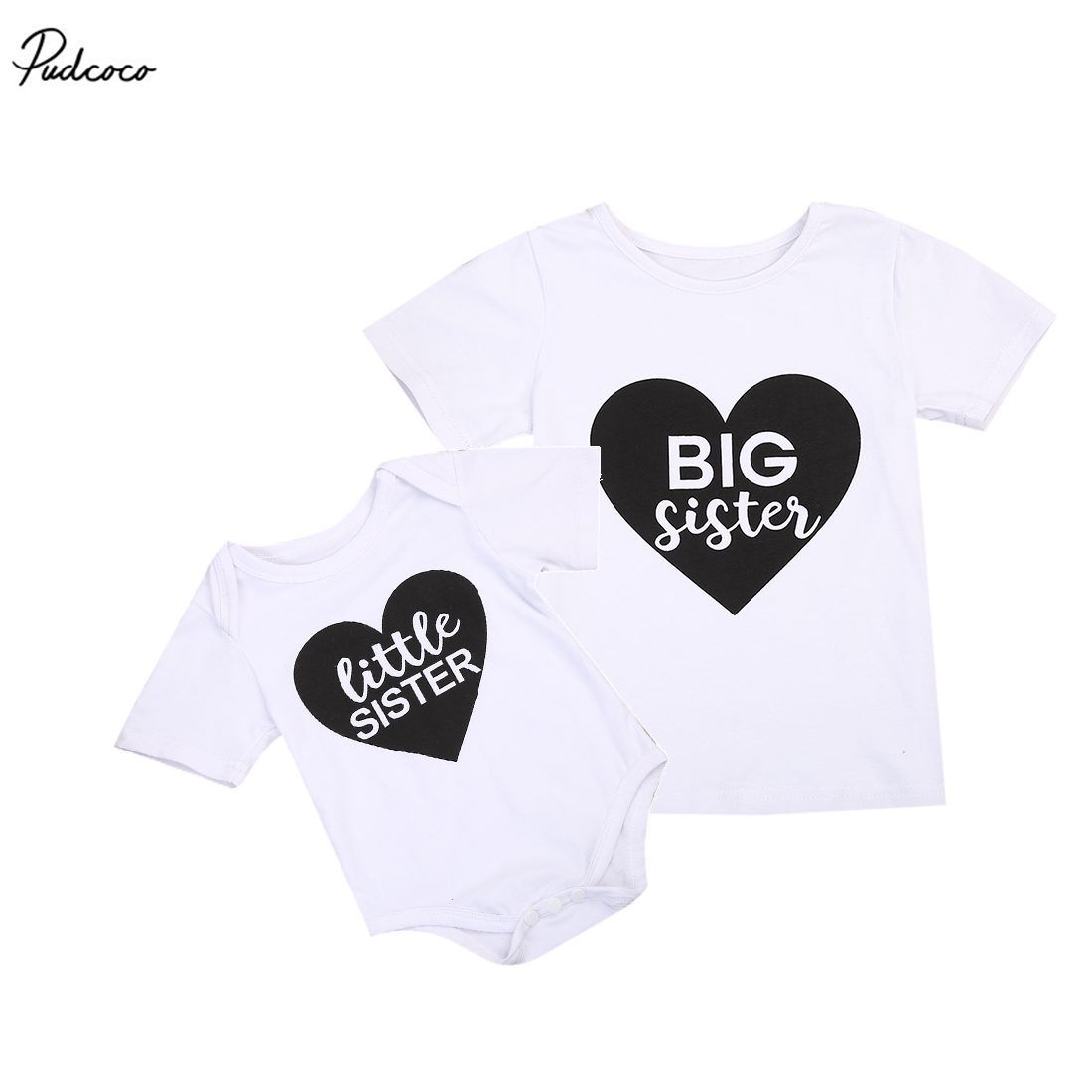 Baby Kids Girl Littler Big Sister Casual Cotton Short Sleeve Romper Heart Jumpsuit 2017 New Summer Tops Family Set