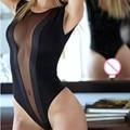 Nueva moda sexy lingerie hot negro lace v-profundo teddy lencería perspectiva sexy trajes de satén sujetador abierto lencería erótica