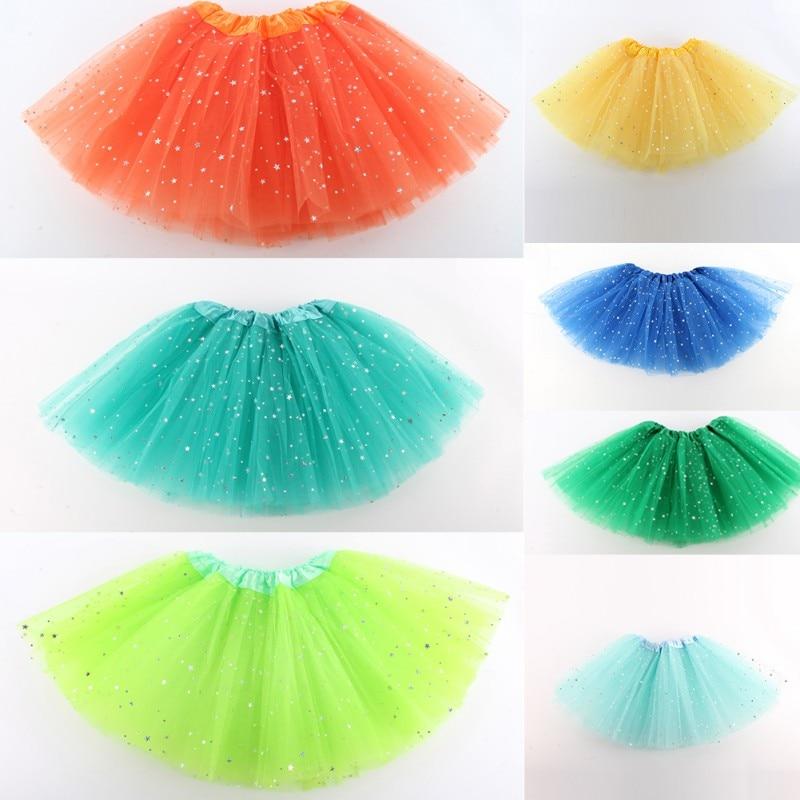 Girls Tutu Skirt Summer Kids Star Glitter Dance Tutu Skirt For Girl Sequin 3 Layers Tulle Toddler Lace Pettiskirt Children Chiff
