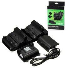 Dual Charging Dock Chargeur + 2 x Rechargeable Batterie Pack + USB Câble de Charge Cordon D'alimentation pour XBOX ONE Sans Fil contrôleur Gamepad