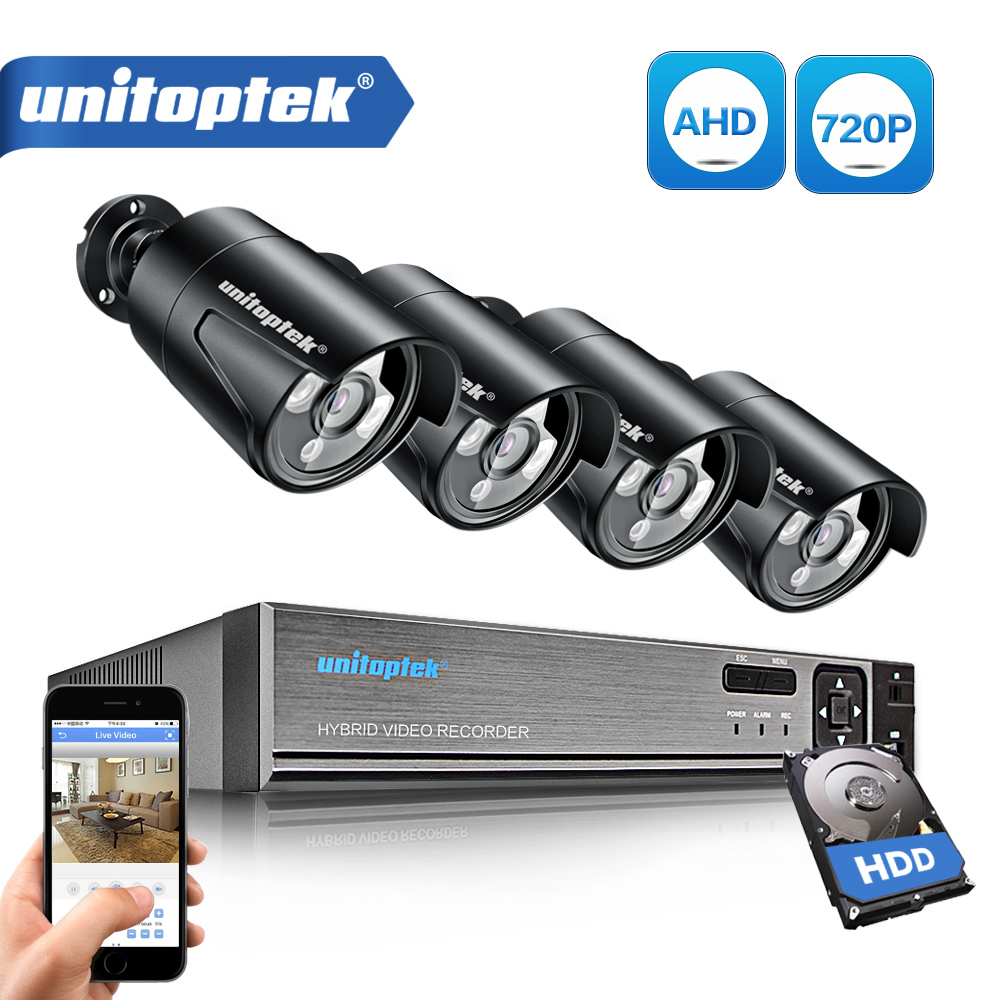 UNITOPTEK 1080N HDMI DVR 1200TVL 720P HD AHD Camera Set Outdoor Home Security Camera System 4CH CCTV Video Surveillance DVR Kit UNITOPTEK 1080N HDMI DVR 1200TVL 720P HD AHD Camera Set Outdoor Home Security Camera System 4CH CCTV Video Surveillance DVR Kit