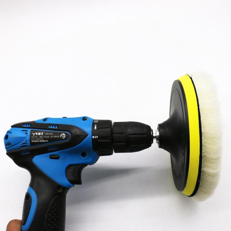 4 Pcs 6 Inch Polishing buffe Pad Woolen Polishing <font><b>Brush</b></font> <font><b>Waxing</b></font> Pads Kits with M14 Drill Adapter