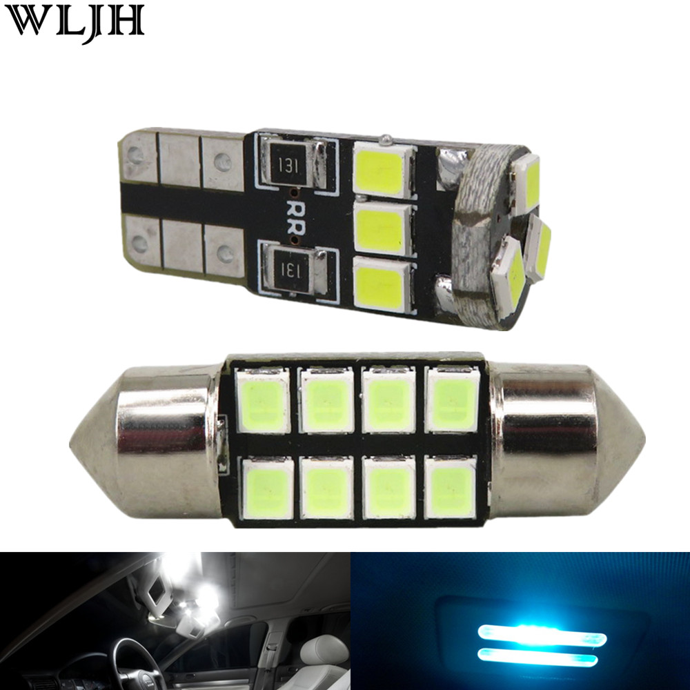 WLJH 8x Car Led T10 W5W Bulb 2835 SMD Dome Map Step Courtesy Trunk Interior Light Package for Lexus IS250 IS350 IS-F 2006-2013