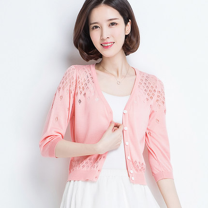 2019 Summer Fashion Women Thin Section Coat Short Paragraph Hollow Knitwear Small Shawl 7 Points Sleeve