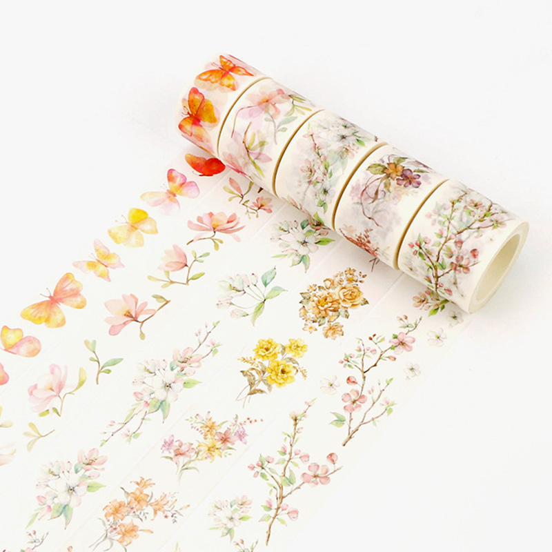 DIY Kawaii Flower Adhesive Washi Tape Cute Bird Masking Decorative Tape For Photo Album Diary Student 3668 diy cute kawaii cartoon 5mm slim washi tape lovely fruit adhesive tape for decoration photo album school free shipping 3454 page 8