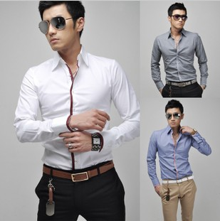 Free Shipping 2015 Hot Mens Shirts,Mens dress Shirts,Mens Casual Fit Stylish long-sleeved Shirts Size:M-XXL