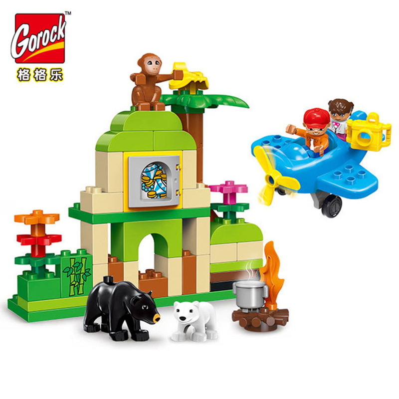 GOROCK 1004 Jungle Animal Building Blocks DIY Enlighten Boy Figure Large Size Bricks Baby Gift Compatible With Duploe Kids Toys kid s home toys large particles circus show animal paradise building blocks large size 39pcs diy brick toy compatible with duplo