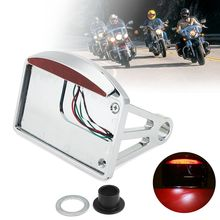 Горизонтальный алюминиевый с хромированной отделкой мотоциклетный номерной знак светодиодный задний светильник горизонтальный/вертикальный боковой кронштейн