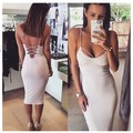 Sexy Sweetheart Lace up Bodycon Dress Ladies Strappy Hollow Out Back Knee Length Party Dress