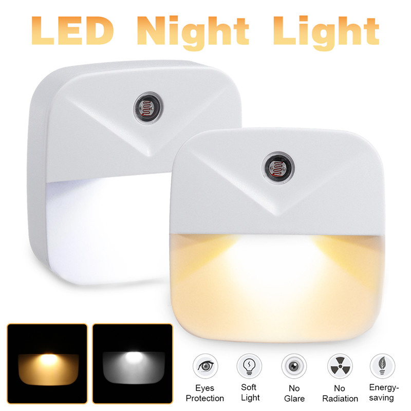 1/2/4PCS Mini Night Light Light Sensor AUTO Control US Plug Novelty Square Baby kids Bedroom lamp moon Romantic Lights bulbs