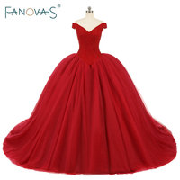 Luxury Beads Crystal Wedding Dress Ball Gowns Off The Shoulder Red Tulle Wedding Gowns Vestido De