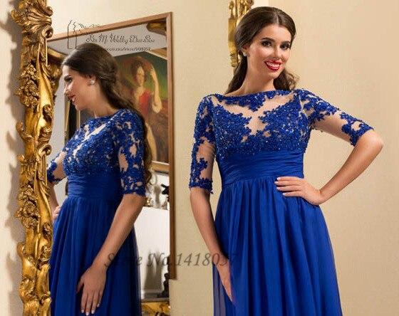 Royal Blue maternité robes de soirée Empire demi manches dentelle formelle femmes robes longue en mousseline de soie Robe de bal Applique Robe de soirée - 3