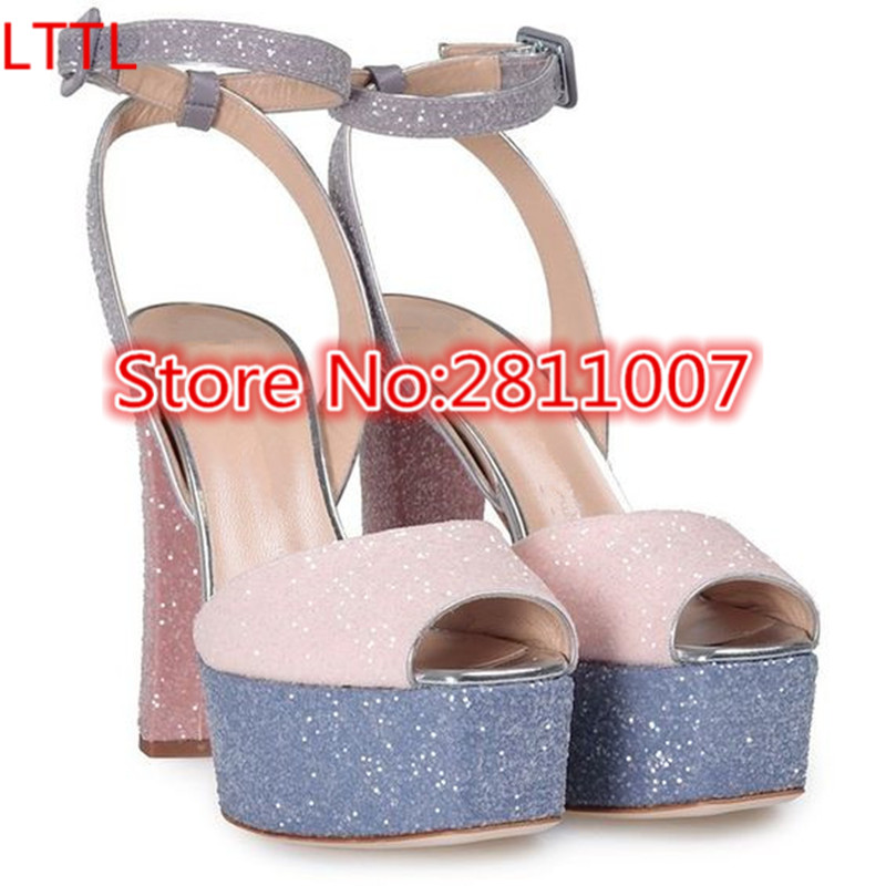 ФОТО New Multicoloured Leather Betty Glitter High Design Women Sandals Peep Toe Ankle Strap Platform High Block Heel Shoes Woman