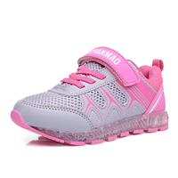 Kids Mesh Breathable Casual Shoes Boys Classic Hook And Loop Non Slip Shoes Girls Led Luminous Lightweight Sport Shoes AA60155