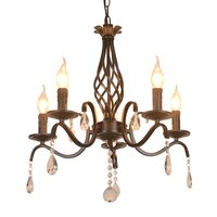 Mediterranean Living Room Crystal Chandeliers Luxury Royal Painted Metal Romantic Dining Room Bedroom Chain Chandeliers