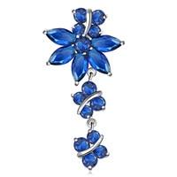 ZHE FAN Fashion Women Brooches Dangle Jewelry Blue Colorful AAA Cubiz Zirconia Party Gift Long Brooch