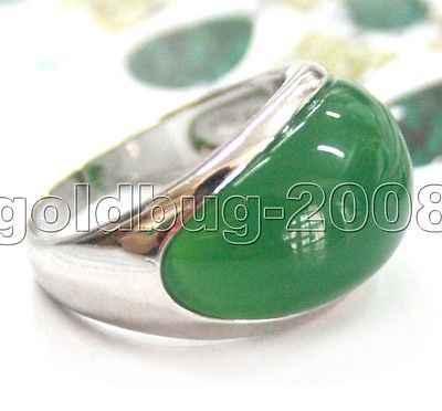 ร้อนขาย->@@เครื่องประดับออกแบบที่ไม่ซ้ำขนาดใหญ่สีเขียวหยกแหวนนิ้วขนาด: #7 #8 #9 #10/ฟรีA-Top Qualityจัดส่งฟรี