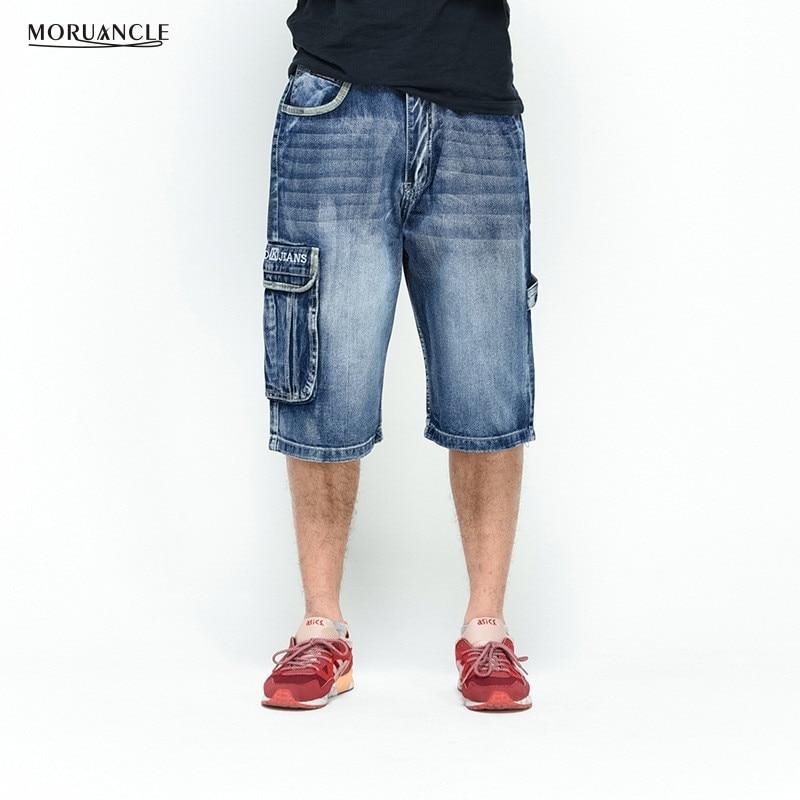MORUANCLE Men's Baggy Cargo Jogger Shorts Hip Hop Denim Shorts Male Multi Pockets Loose Skateboard Jeans Shorts Plus Size 30-46