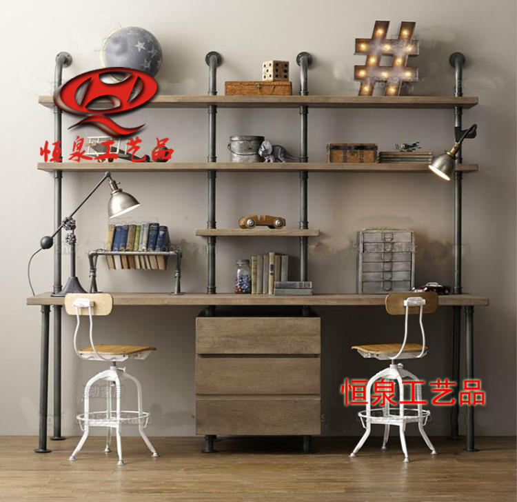 American Retro Industrial Pipe Wall Shelf Bookcase Wood