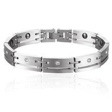 fb87b19ad085 Plata Color cristal pavimentado 316L Acero inoxidable imán germanio  holograma salud pulseras para hombres mujeres moda joyería