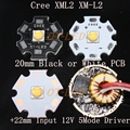 Cree XML2 XM-L2 T6 10W High Power LED Emitter Cool White Neutral White Warm White 20mm Black or White PCB + Input12V 2.8A Driver