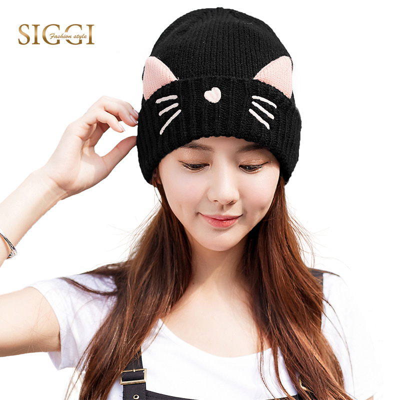 Women Knitted Beanies Cat Ear Cap Winter Hats Skullies for Girl Bonnet SIGGI gorros muts Wool Thick Fleece czapa zimowa 88236
