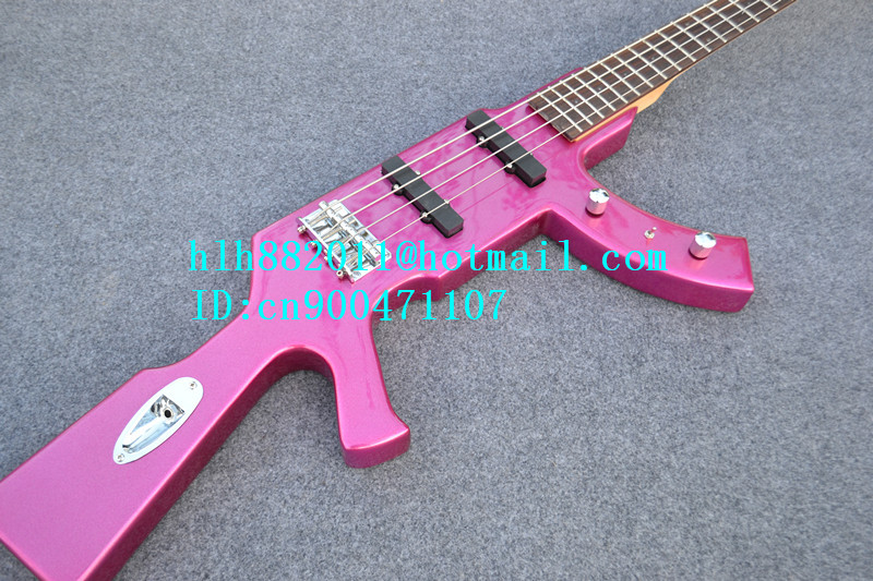 free shipping new electric bass guitar with special shape in pink made in China +foam box F-1865 finish bass guitars electric chinese 5 string bass butterfly bass guitar free shipping made in china