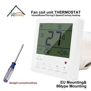 HESSWAY heat cool temp thermostat digital 220v for 3 speed fan coil units цена 2017