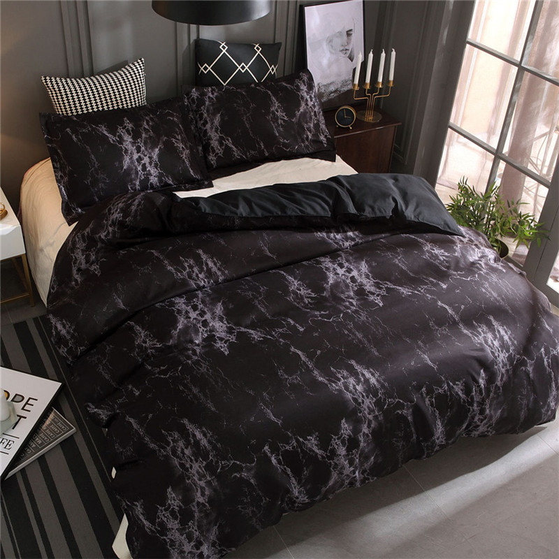Image 5 - Simple Marble Bedding Duvet Cover Set Quilt Cover Twin King Size With Pillow Case Luxury Soft Duvets Sleep mask double bedspread-in Bedding Sets from Home & Garden
