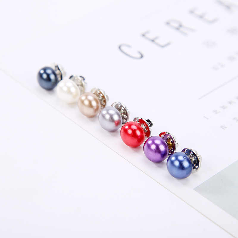 7 Colors White Black Red Blue Simple Simulated Pearl Bead Silver Fancy Brooches For Women
