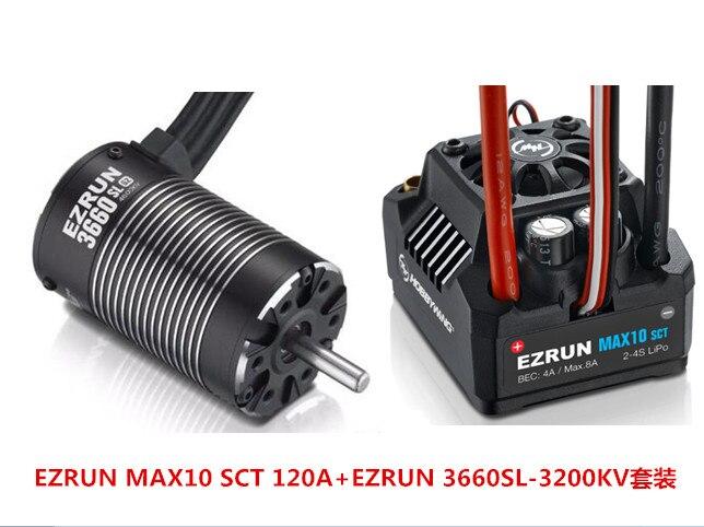 F19286/8 Hobbywing EZRUN MAX10 SCT 120A sans balai ESC + 3660 G2 3200KV/4000KV/4600KV Kit moteur sans capteur pour camion de voiture 1/10 RC