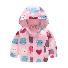 Fashion Thin Section Girls Jackets For Summer and Spring Printed Baby Outfits Children Outerwear Child Coat 80-130cm