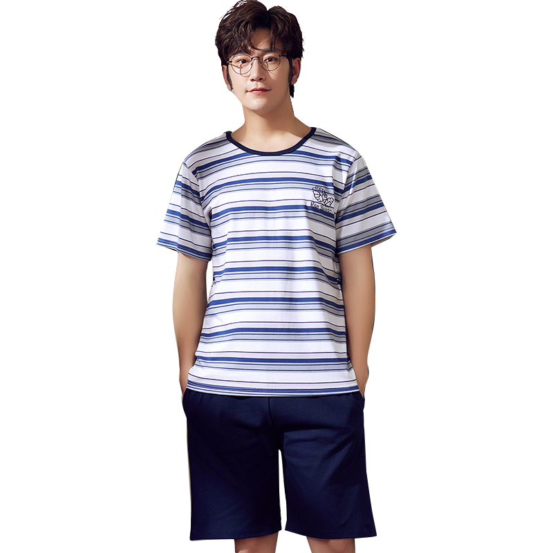 Blue Stripe Short Sleeve + Solid Blue Shorts Casual Cotton Pajamas Sets For Men New Summer Pyjama Male Fashion Pijamas De Hombre