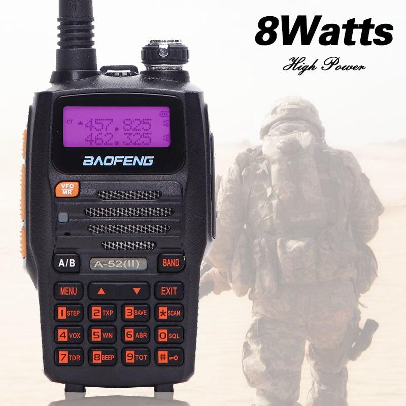 2018 Baofeng A-52II 8 W Puissant talkie walkie cb Deux-Way Radio 10 km longue portée Émetteur-Récepteur 8 watts portable Mise À Niveau de A52 uv-5r