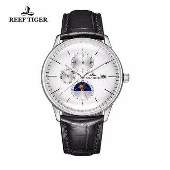 цена 2020 New Reef Tiger/RT Fashion Casual Watches Men Waterproof Automatic Watches Genuine Leather Strap RGA1653 онлайн в 2017 году