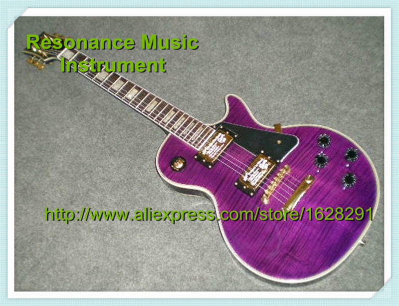 Popular Deisgn China Custom Shop Naked Pattern LP Custom Electric Guitar in Red with Split Block Inlay