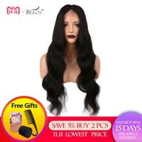 BEEOS 180 плотность 360 синтетический Frontal шнурка волос парик бразильский Реми натуральные волосы Искусственные парики с ребенком для женщи