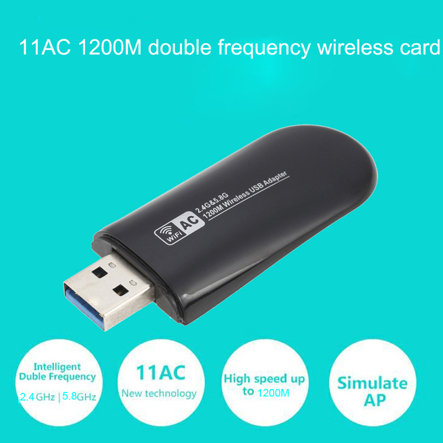 1200Mbps 11AC USB 3.0 2.4G/5.8G Dual Band Wireless WiFi Adapter Receiver Network Card 802.11ac/a/b/g/n