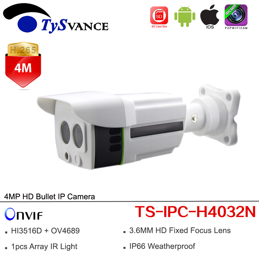 цена на new TS-IPC-H4032N HD 4MP Bullet IP Camera CCTV Security Surveillance Camera Outdoor Waterproof IP66 ONVIF IR SD/TF Card Slot P2P