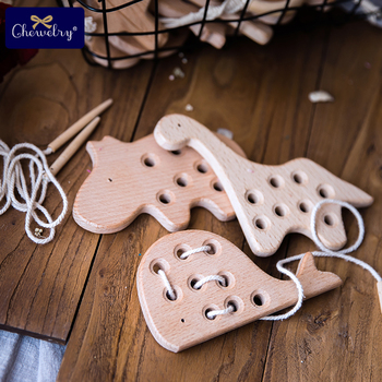 Wooden Kindergarten Mouse Threading Board Lacing Beech Sewing Toys Dinosaur Button Beaded Blocks For Boys Girls Products