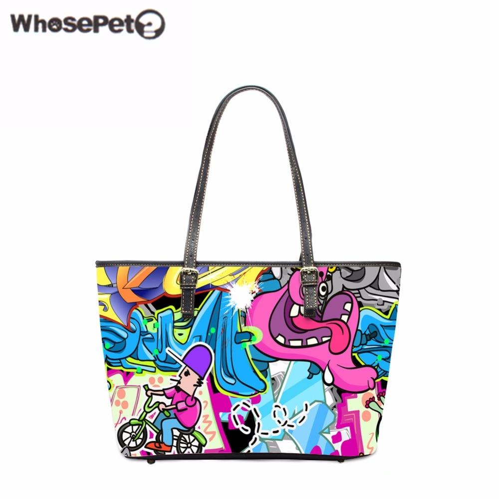 ba9ea3e7568 WHOSEPET Graffiti Handbag for Ladies Cute Women s Tote Bags Designer  Handbags High Quality Girls Shoulder Bags High Capacity Bag
