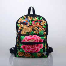 Chinese National Style Embroidery Canvas Backpack Large Peony Flower Fashion Style