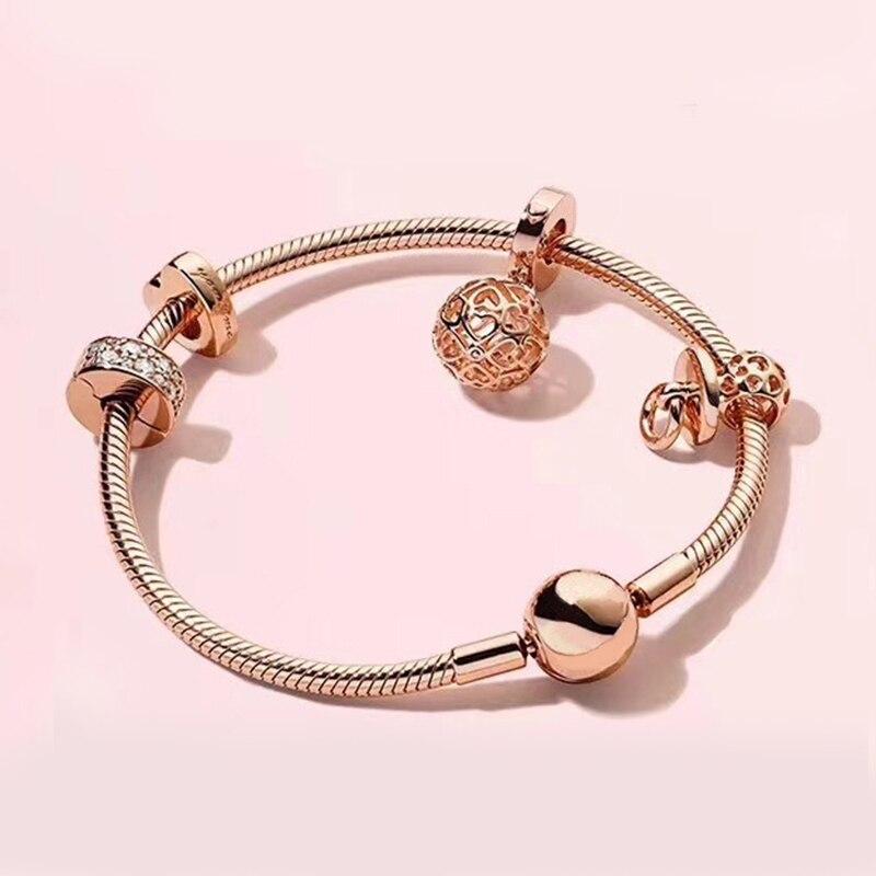 Authentic 925 Sterling Silver Original Rose Harmonious Hearts Europe Bracelet Set Clear CZ Fit Women Bangle